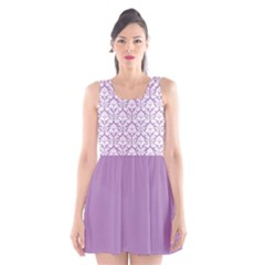 Damask Pattern Lilac And White Scoop Neck Skater Dress