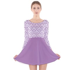 Damask Pattern Lilac And White Long Sleeve Velvet Skater Dress