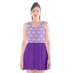 Royal Purple And White Damask Pattern Scoop Neck Skater Dress