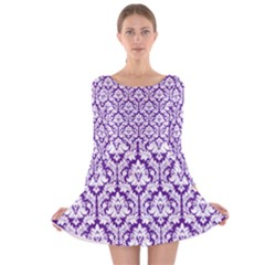Royal Purple And White Damask Pattern Long Sleeve Velvet Skater Dress