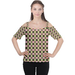 Christiane Ylva Small Pattern In Red Green Yellow Women s Cutout Shoulder Tee