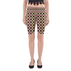 Christiane Ylva Small Pattern In Red Green Yellow Yoga Cropped Leggings