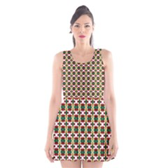 Christiane Ylva Small Pattern In Red Green Yellow Scoop Neck Skater Dress