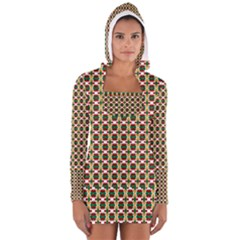 Christiane Ylva Small Pattern In Red Green Yellow Women s Long Sleeve Hooded T-shirt