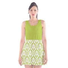 Spring Green Damask Pattern Scoop Neck Skater Dress