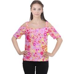 Sweet Pink Bubbles Women s Cutout Shoulder Tee