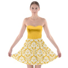 Damask Pattern Sunny Yellow And White Strapless Dresses