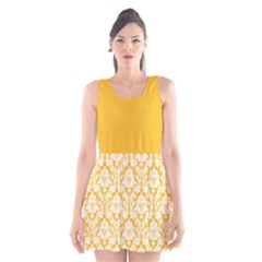Damask Pattern Sunny Yellow And White Scoop Neck Skater Dress