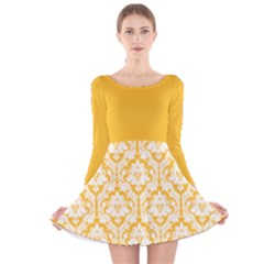 Damask Pattern Sunny Yellow And White Long Sleeve Velvet Skater Dress