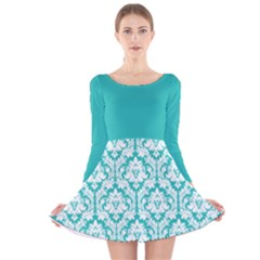 Turquoise Damask Pattern Long Sleeve Velvet Skater Dress