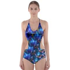 Blue Sunrise Fractal Cut-Out One Piece Swimsuit