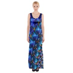 Blue Sunrise Fractal Maxi Thigh Split Dress