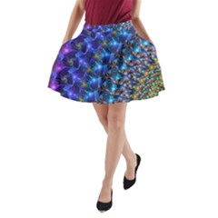 Blue Sunrise Fractal A-Line Pocket Skirt