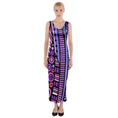 Stained Glass Tribal Pattern Fitted Maxi Dress