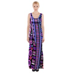 Stained glass tribal pattern Maxi Thigh Split Dress
