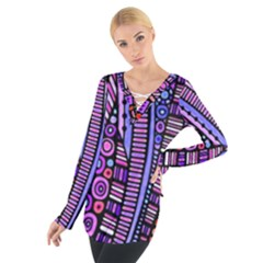 Stained Glass Tribal Pattern Women s Tie Up Tee