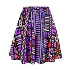 Stained glass tribal pattern High Waist Skirt