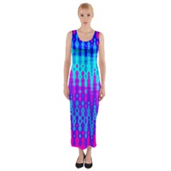 Melting Blues and Pinks Fitted Maxi Dress