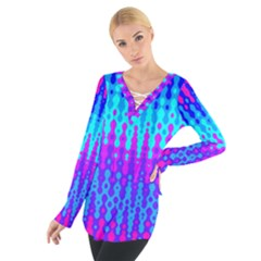 Melting Blues And Pinks Women s Tie Up Tee