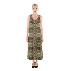 Christiane Xandra Small Pattern Green Red Yellow Sleeveless Maxi Dress