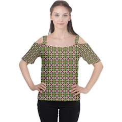 Christiane Xandra Small Pattern Green Red Yellow Women s Cutout Shoulder Tee