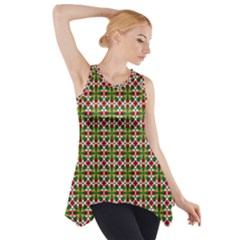 Christiane Xandra Small Pattern Green Red Yellow Side Drop Tank Tunic