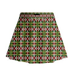 Christiane Xandra Small Pattern Green Red Yellow Mini Flare Skirt