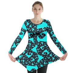 Teal on Black Funky Fractal  Long Sleeve Tunic