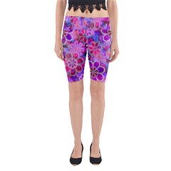 Pretty Floral Painting Yoga Cropped Leggings