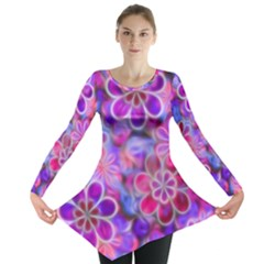 Pretty Floral Painting Long Sleeve Tunic