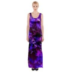Purple Skulls Goth Storm Maxi Thigh Split Dress