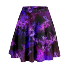 Purple Skulls Goth Storm High Waist Skirt