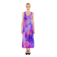 Pink And Purple Marble Waves Sleeveless Maxi Dress