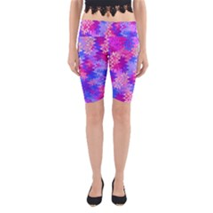 Pink and Purple Marble Waves Yoga Cropped Leggings