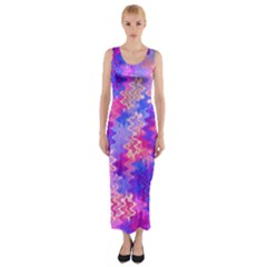 Pink And Purple Marble Waves Fitted Maxi Dress