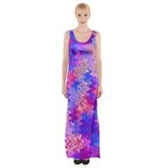 Pink and Purple Marble Waves Maxi Thigh Split Dress