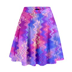 Pink And Purple Marble Waves High Waist Skirt