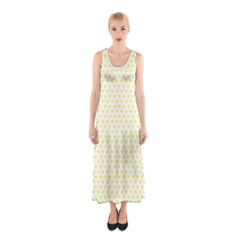 Small Yellow Hearts Pattern Sleeveless Maxi Dress