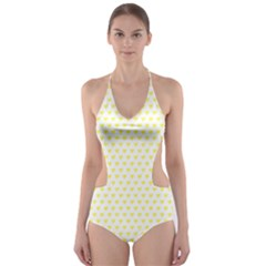 Small Yellow Hearts Pattern Cut Out One Piece Swimsuit