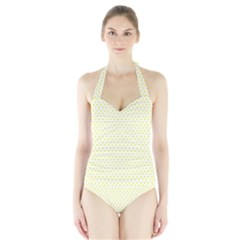 Small Yellow Hearts Pattern Women s Halter One Piece Swimsuit