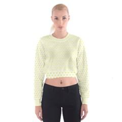 Small Yellow Hearts Pattern Women s Cropped Sweatshirt