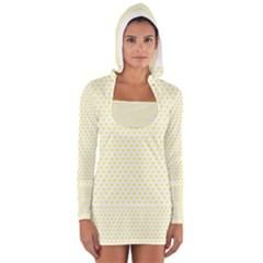 Small Yellow Hearts Pattern Women s Long Sleeve Hooded T-shirt
