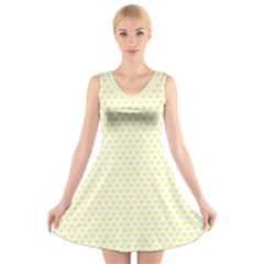 Small Yellow Hearts Pattern V-Neck Sleeveless Skater Dress
