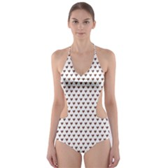 Walnut Brown Small Hearts Pattern Cut-Out One Piece Swimsuit