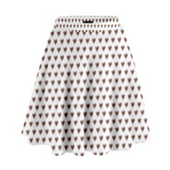 Walnut Brown Small Hearts Pattern High Waist Skirt
