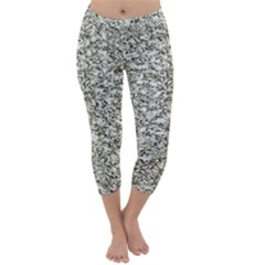 Black And White Abstract Texture Print Capri Winter Leggings