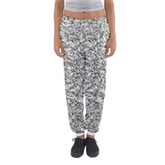 Black and White Abstract Texture Print Women s Jogger Sweatpants