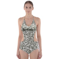Black And White Abstract Texture Print Cut Out One Piece Swimsuit