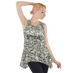 Black and White Abstract Texture Print Side Drop Tank Tunic