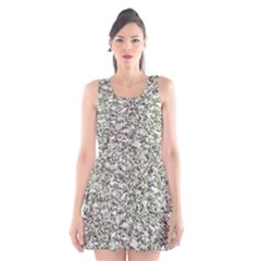 Black and White Abstract Texture Print Scoop Neck Skater Dress